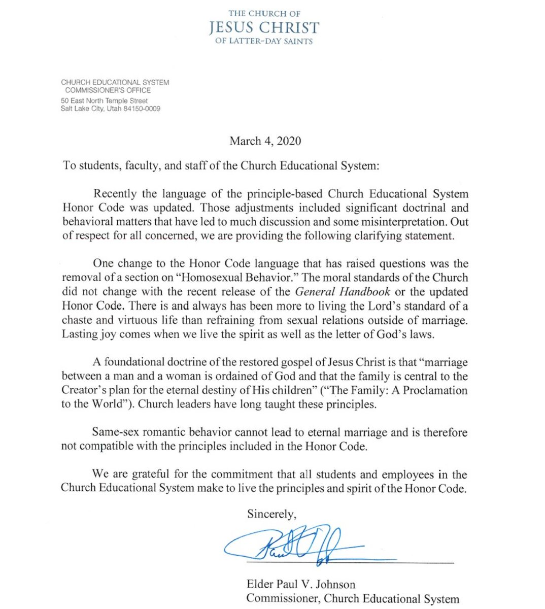 Today this letter from Elder Paul V. Johnson, Commissioner of the Church Educational System, regarding the updated Honor Code was sent to students and employees at all CES schools.