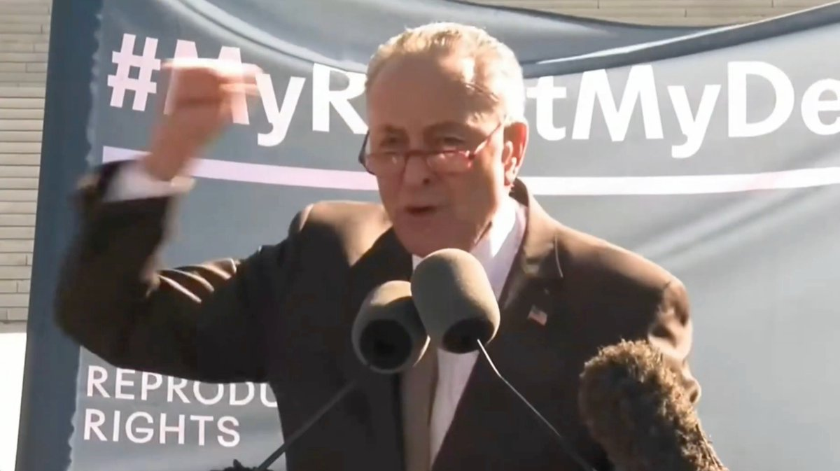 """🚨 UNHINGED → Schumer threatened conservative justices Kavanaugh & Gorsuch on the steps of the Supreme Court:  """"You have released the whirlwind & you will pay the price. You won't know what hit you.""""  Enough. This rhetoric has dangerous consequences. Where's the media outrage?"""