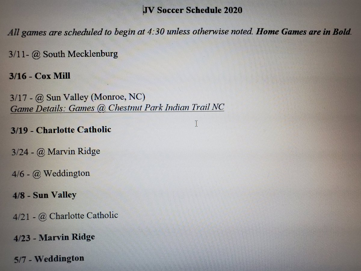 This years JV Game Schedule.  And yes, we only have 10 games.