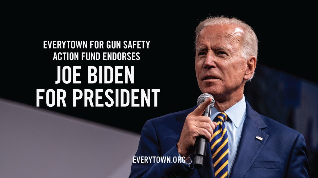 We're proud to endorse @JoeBiden for president. From helping pass the bill that established the background check system, to passing the assault weapons ban, to writing VAWA, to opposing immunity for the gun industry, he's demonstrated a strong commitment to reducing gun violence.