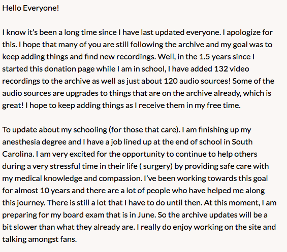 An update on the archive and thank you for all your support.