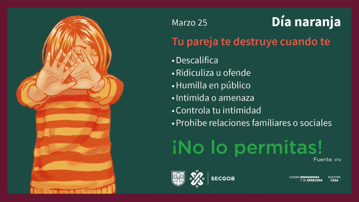 La violencia contra las mujeres no es normal, por ello debemos hacer conciencia y trabajar para erradicarla. #HeForShe #DíaNaranja #DateCuenta
