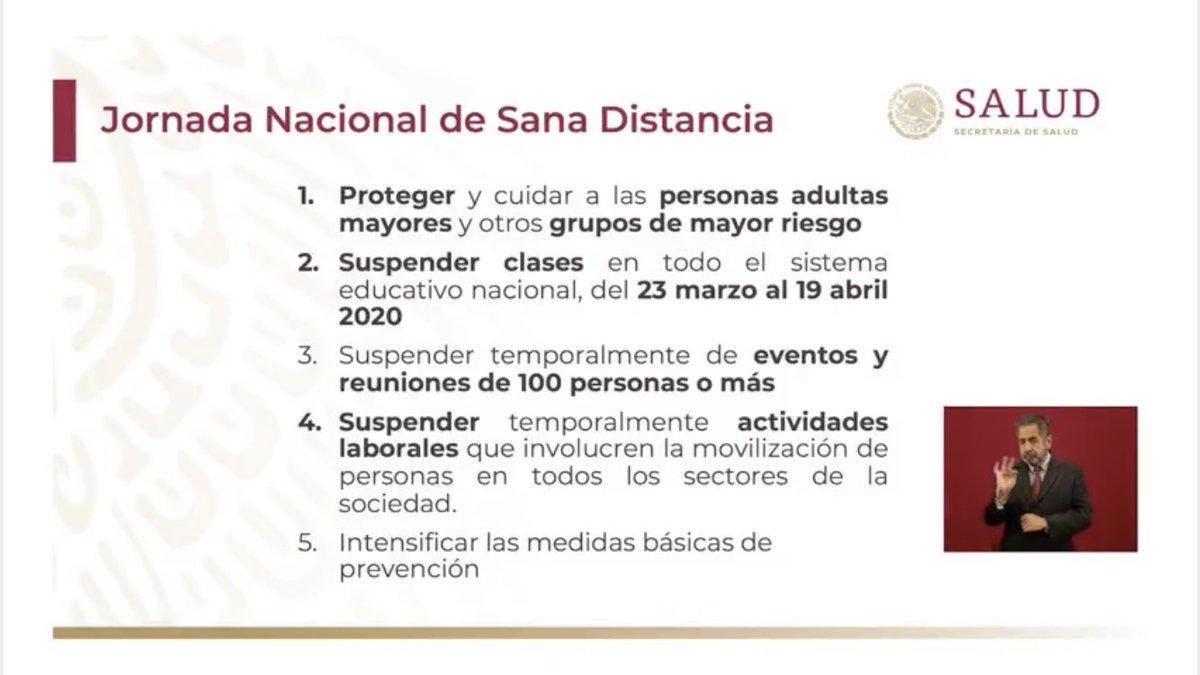 """#Ampliación Acciones Nacionales para la contingencia por Covid-19 Coronavirus en México:  """"Jornada Nacional de Sana Distancia.""""  🇲🇽"""