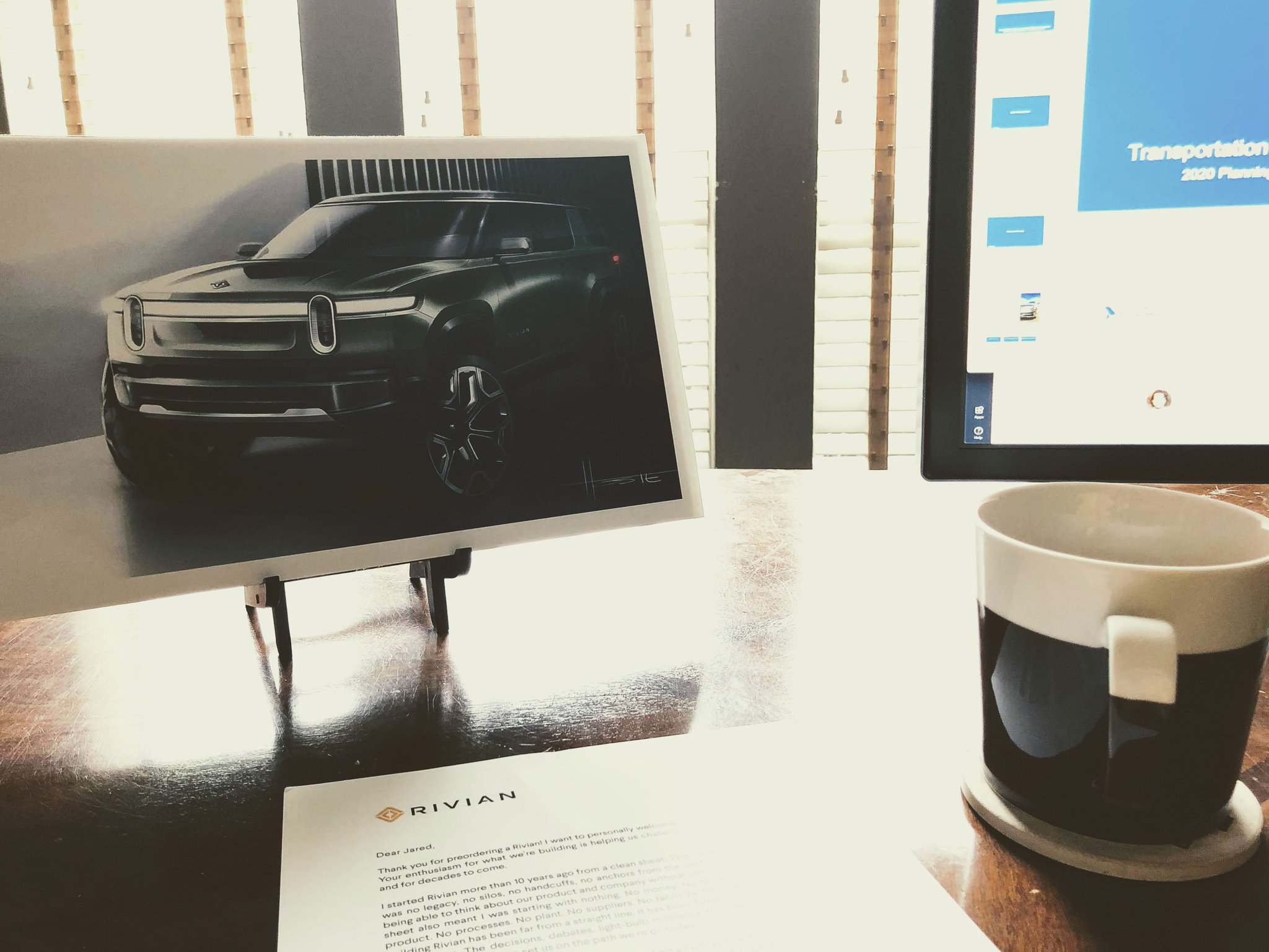 Some sweet new art and #motivation from @Rivian as I settle into day 1 of my new #WorkFromHome setup. Let's #FlattenTheCurve and make this gorgeous #R1S ride a reality - an adventure awaits! Appreciate the letter @RJScaringe https://t.co/BWGChlC4IC