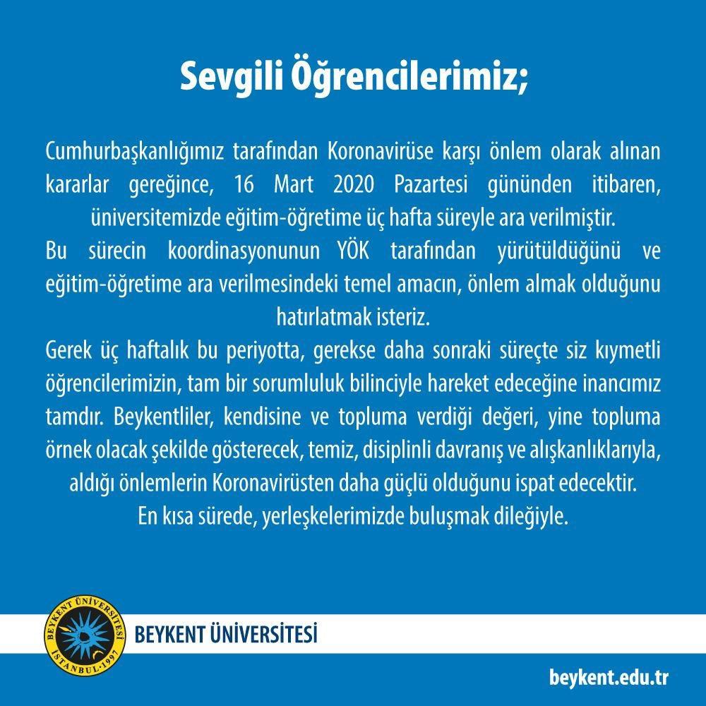 Beykent Üniversitesi Rektörlüğünden, Koronavirüs ile ilgili YÖK Uygulama Esaslarına dair önemli duyuru!  #BeykentÜniversitesi https://t.co/RVMfvItn0A