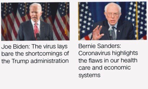 """Choose your warrior: this virus has laid bare the severe shortcomings in our society. These conditions existed well before Trump. A promise to take us back to """"the way it used to be"""" is not enough. @BernieSanders understands this. @JoeBiden is only offering a band-aid  #demdebate"""
