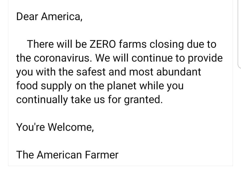 @RealJamesWoods My husband is a farmer and people need to know this. Thank you. #FarmersWifer #AmericanFarmer