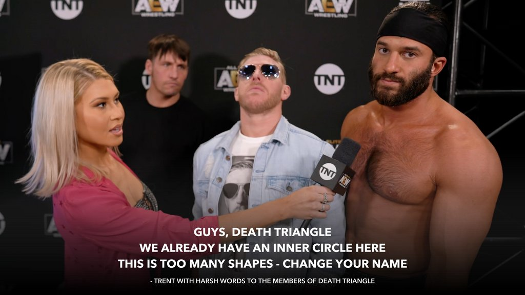 .@trentylocks tells it like it is to the members of #DEATHTRIANGLE.  Watch #BestFriends take on #TheLuchaBrothers tonight on #AEWDynamite 8e/7c on @TNTDrama.