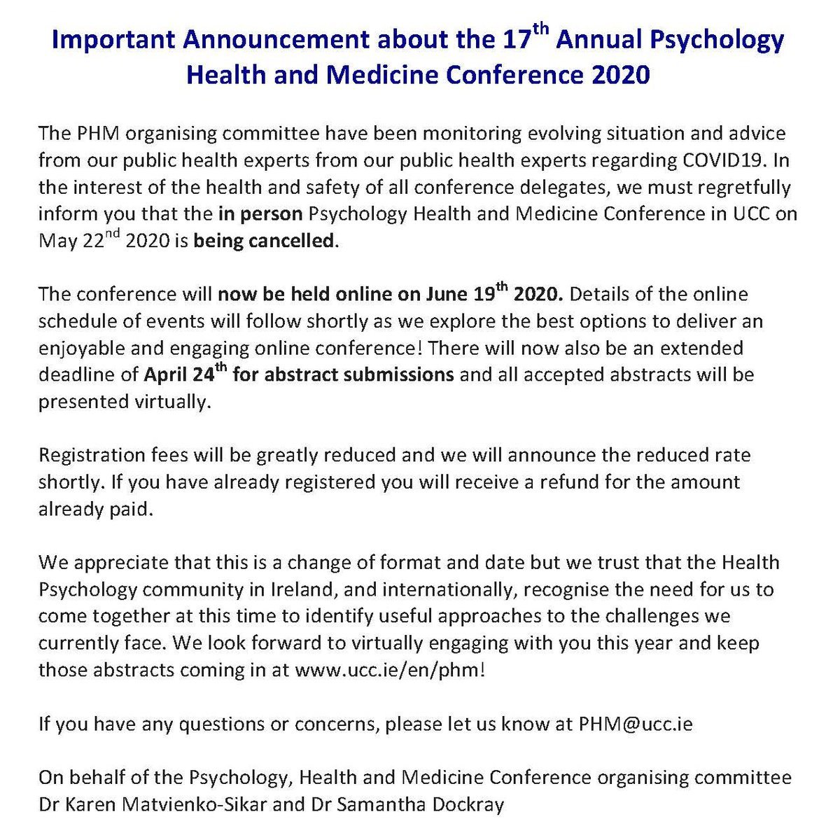 test Twitter Media - Due to the current health advice about COVID19, #phm2020 will not take place in person this year but will instead take place online on June 19th 2020. Abstract submission extended to April 24th https://t.co/PrFmMW9sgo More details to follow soon. #phm2020 @PSI_DHP https://t.co/ZWzMuntkPC