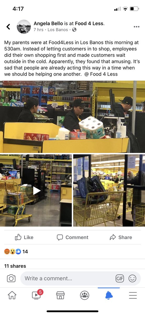This hella makes me mad Bc my mom and suegra have been busting their asses working stupid long hours for these people to shop and heaven forbid they're not allowed to finally shop for themselves !! @ these people of Los Banos you sicken me