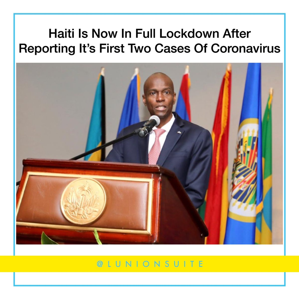 Haiti is now in full lockdown after President Jovenel Moise announced the country's first two cases of coronavirus during a press conference. As of tomorrow, Moise will close airports, schools, factories, seaports, and the border it shares with the Dominican Republic.