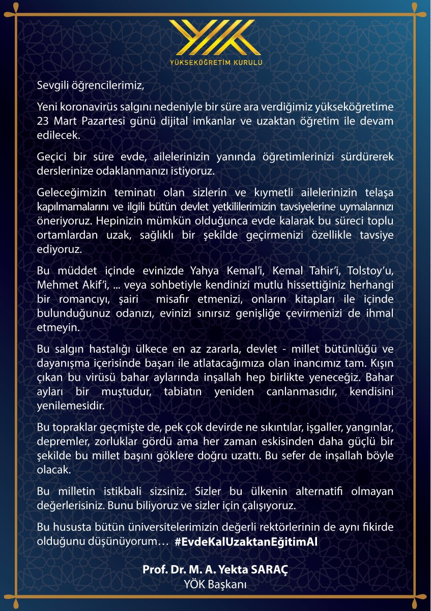 RT @yekta_sarac: #EvdeKalUzaktanEğitimAl https://t.co/3vJDV7roJW