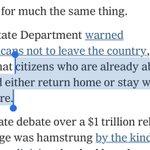 """Amerikanska utrikesdepartementet: """"åk hem eller stanna kvar"""".   Va?"""