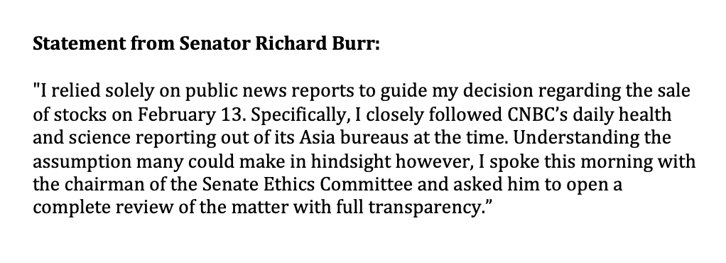 My statement in response to reports about recent financial disclosures: