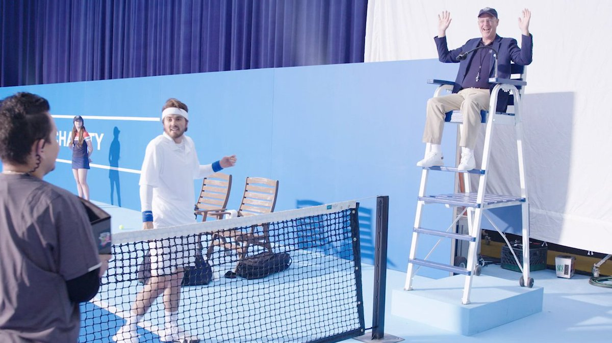 While we're looking for things to do at home, I thought it'd be fun to share behind the scenes of my dad's acting debut. 🎾 https://t.co/1WIBE8jdfb