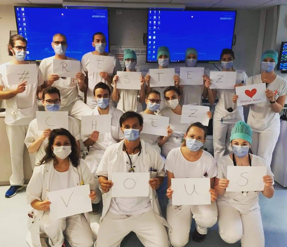 L'équipe des urgences de l'hôpital Rangueil du CHU de Toulouse a un message 🙂 #RESTEZCHEZVOUS #Covid_19 #COVID19 #ConfinementJour4 https://t.co/knryZEObaV