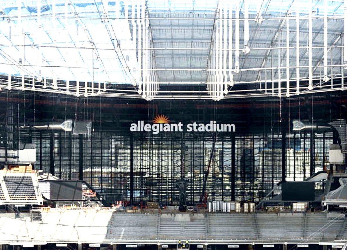 The first Allegiant Stadium sign is up inside of @AllegiantStadm. #vegas #raiders #stadium