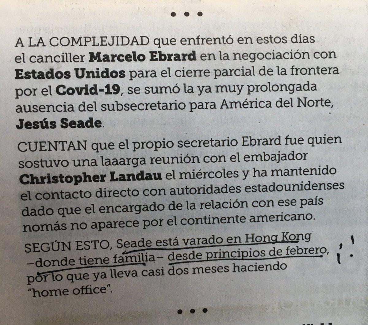 Señores editores de @Reforma: dejen de mentir de manera descarada. El subsecretario @JesusSeade está en México. Lo entrevisté el 2 de marzo y se difundirá mañana la entrevista en @canalcatorcemx. Que autoridad moral puede tener un medio si no confirma ni sus intrigas?