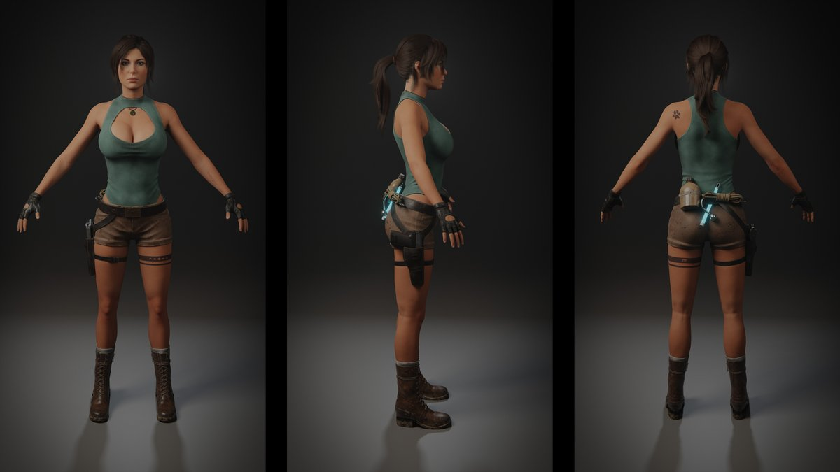 My Lara model released. Use it freely. Inspired by all Tomb Raider games. The rig isn't perfect yet. This will improve. I want to expand the character's filmography. If you think, send the work with my model and I will note. Thanks! Enjoy! Public library:
