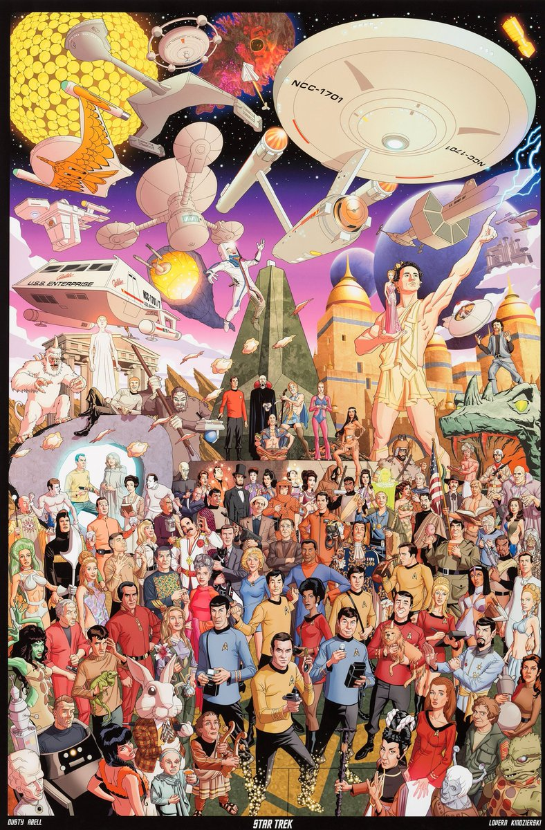 A celebratory feel to this impressively dense homage to TOS by animator Dusty Abell, also featured in the 'Star Trek: 50 Artists 50 Years' hardback.  Today's musings.. who is your favourite guest star (not a series regular) of ANY Trek series? #startrek