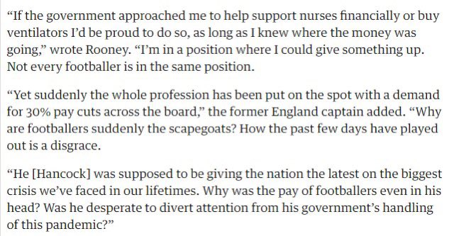 . @WayneRooney has despatched @MattHancock and his government's appalling conduct in 3 paragraphs.