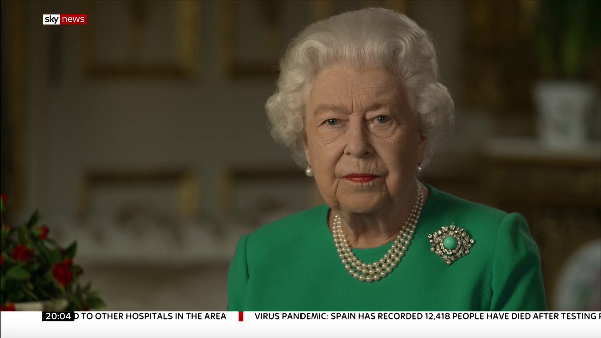 """""""We will be with our friends again; we will be with our families again; we will meet again.""""  In a deeply moving and personal message, the Queen has called on the country to """"remain united and resolute"""" to overcome the #coronavirus crisis.  More on this:"""