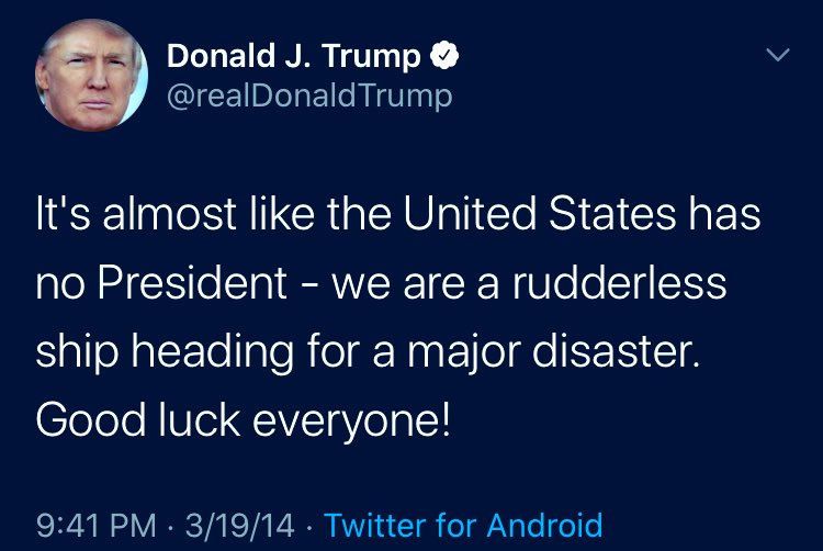 It's almost like the US has no President!!!!! Blast from past!!!! #TrumpIsALoser
