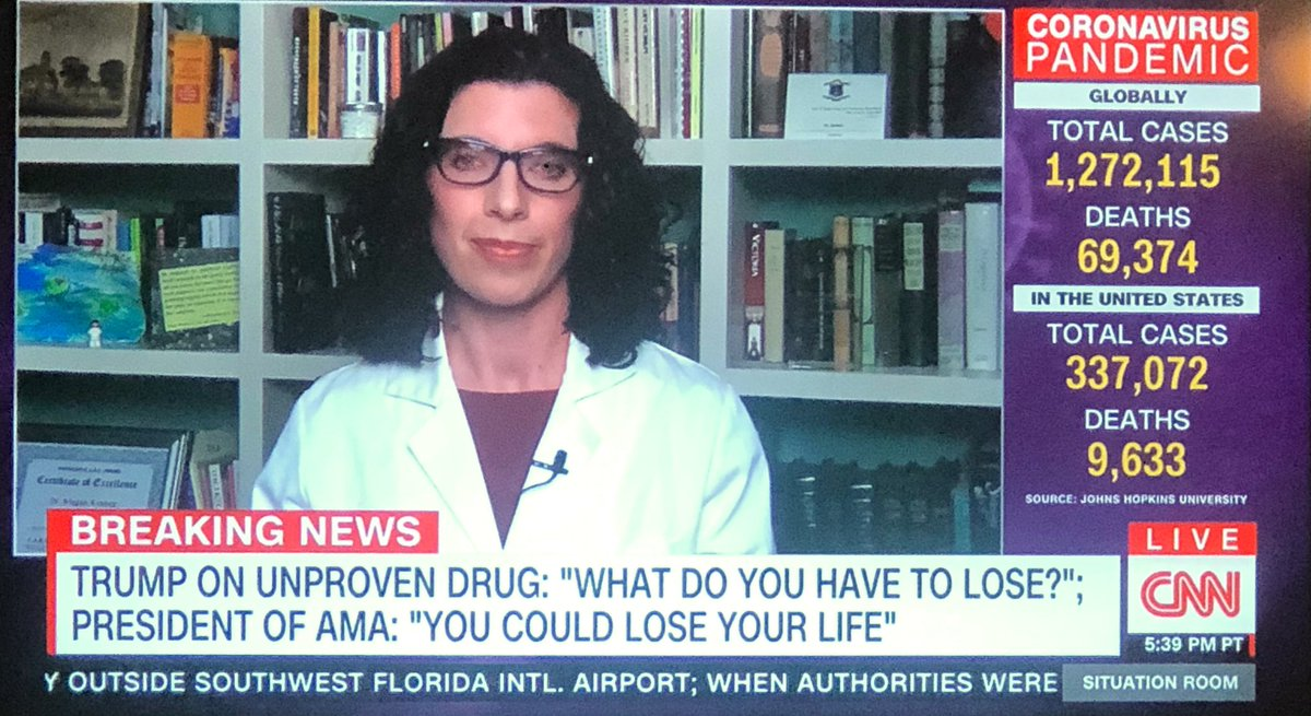 "Trump: ""What do you have to lose [by taking an unproven drug]?""  President of the American Medical Association: ""You could lose your life."""