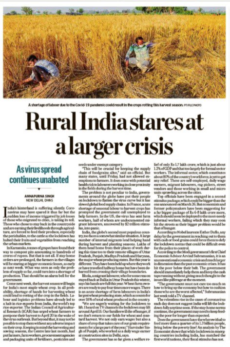 Even before #Covid_19 rural India was in a major crisis since demonetisation & due to this govt's policies. Hard-won gains over decades are in danger of being lost unless Centre comes up with a major action plan. What we see is gimmickry, which is no substitute, just a diversion.