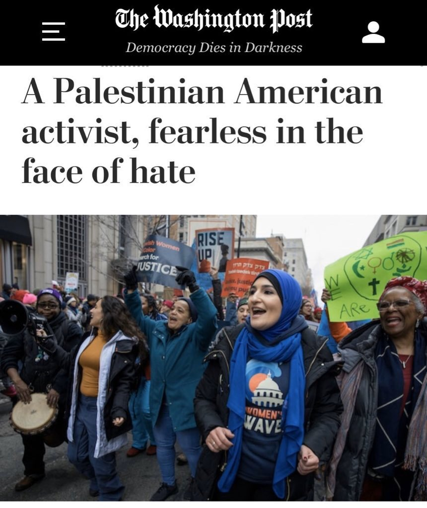 """Hey @washingtonpost, is this the same Linda Sarsour who tweeted that Ayaan Hirsi Ali should have her vagina taken away because she """"doesn't deserve to be a woman"""" and deserves """"an ass-whooping"""" instead?  The same Linda Sarsour that hugged convicted terrorist Rasmea Odeh?  Yup!"""