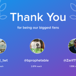Our biggest fans this week: UTeM_twt, bprophetable, ZarifTwinkle. Thank you! via https://t.co/sOrYN2hoC8 https://t.co/BBcVLnUNWI