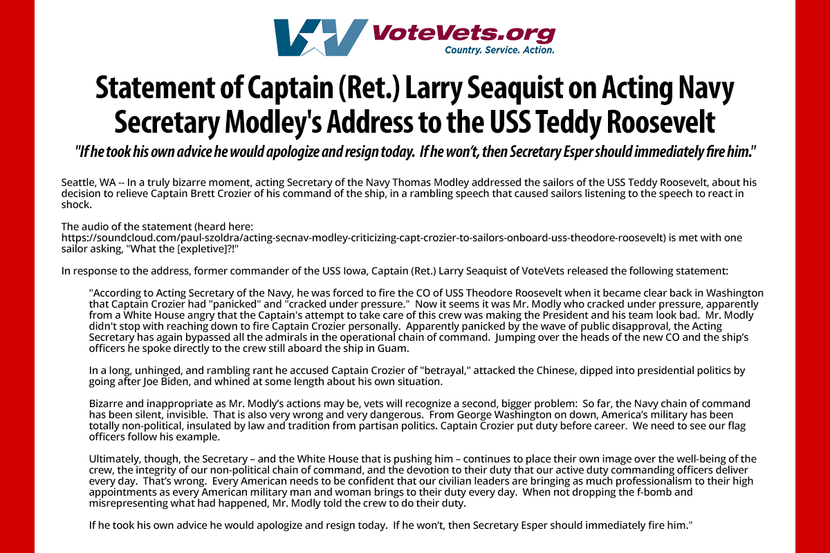 BREAKING: Retired Captain of the USS Iowa calls for Acting Navy Secretary Modley to resign, or be fired immediately. Full statement here: