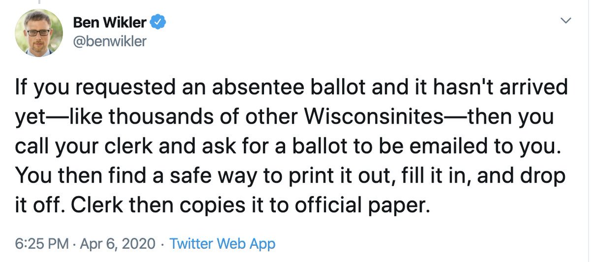 UPDATE: This tweet, from earlier tonight, has now been rendered incorrect. The Wisconsin Elections Commission has now determined that there is no recourse if you did not receive an absentee ballot other than voting in person and risking exposure to COVID-19.