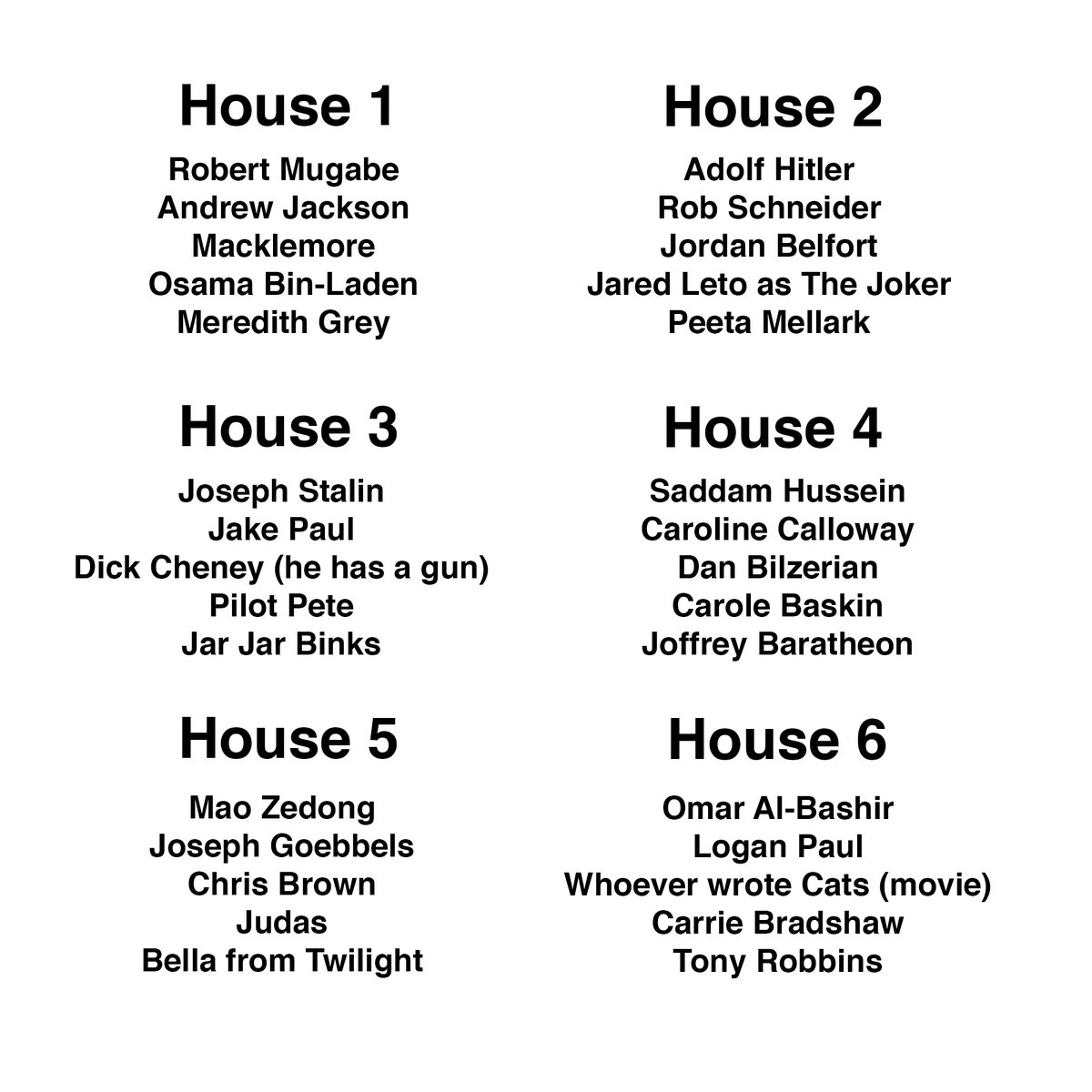 pick your quarantine house. i will answer no questions. choose wisely
