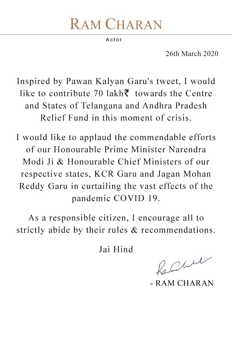 Hope this tweet finds you in good health. At this hour of crisis, inspired by @PawanKalyan garu, I want to do my bit by contributing to aid the laudable efforts of our governments... Hope you all are staying safe at home! @TelanganaCMO @AndhraPradeshCM @PMOIndia @KTRTRS