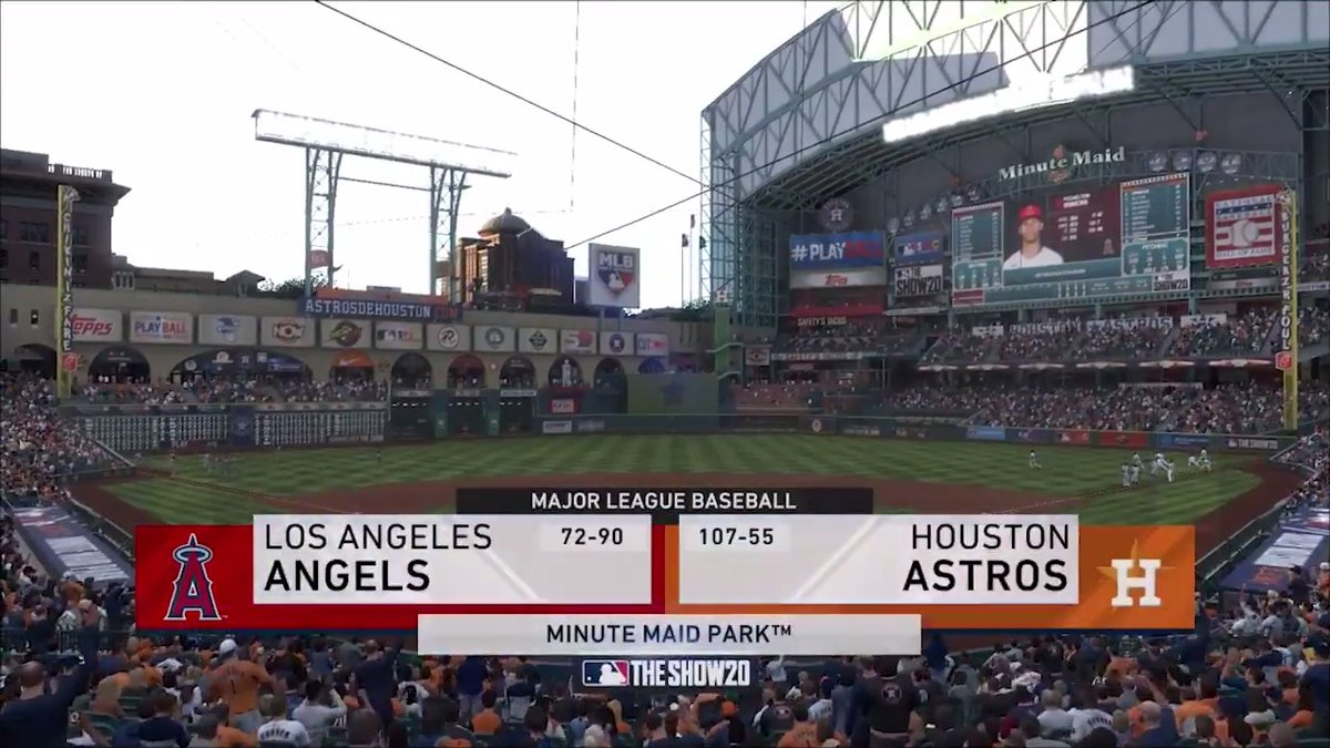 Angels vs. #Astros – Opening Day  See how it all played out thanks to @MLBTheShow.   #OpeningDayAtHome #ForTheH
