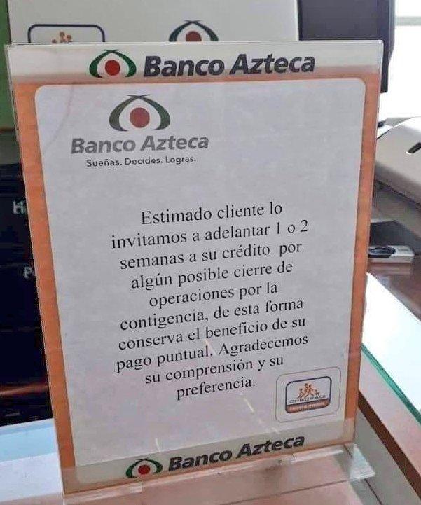 Qué bellas y solidarias son las instituciones de crédito mexicanas.