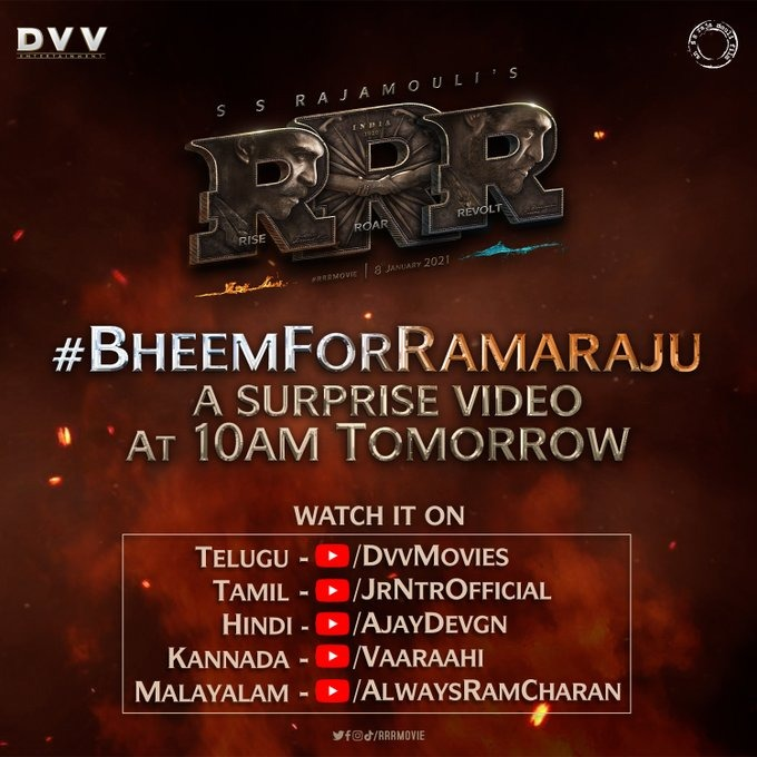 Special video of SS Rajamouli's #RRRMovie: #RiseRoarRevolt drops tomorrow... Stars #JrNTR, #RamCharan, #AliaBhatt and #AjayDevgn... Will release in multiple languages on 8 Jan 2021. #BheemForRamaraju