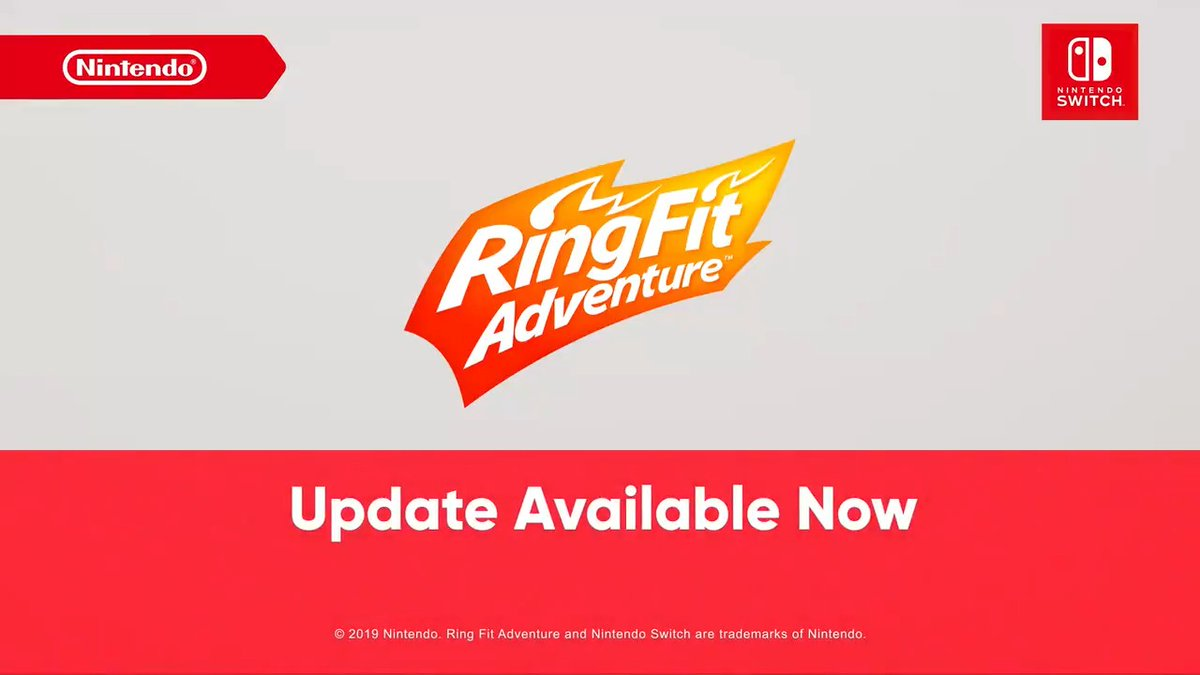 Mix things up with a free #RingFitAdventure update! Move your body to the beat in a new rhythm game featuring 17 tracks, including music from titles such as Super Mario Odyssey, Splatoon 2, & more. New jogging & voice options for Ring are also available.
