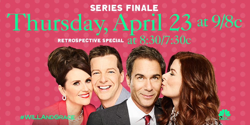 RT @WillAndGrace: See you Thursday, April 23 as we celebrate #WillAndGrace and say farewell to the Fab Four. ❤️ https://t.co/LmrrUkSsxP