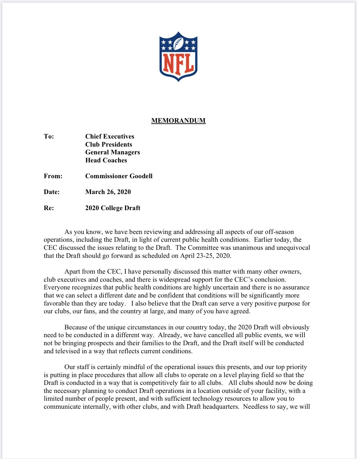 Commissioner Goodell sent out a memo to NFL teams tonight that the draft will go on April 23-25. https://t.co/tYlHo3fKqC