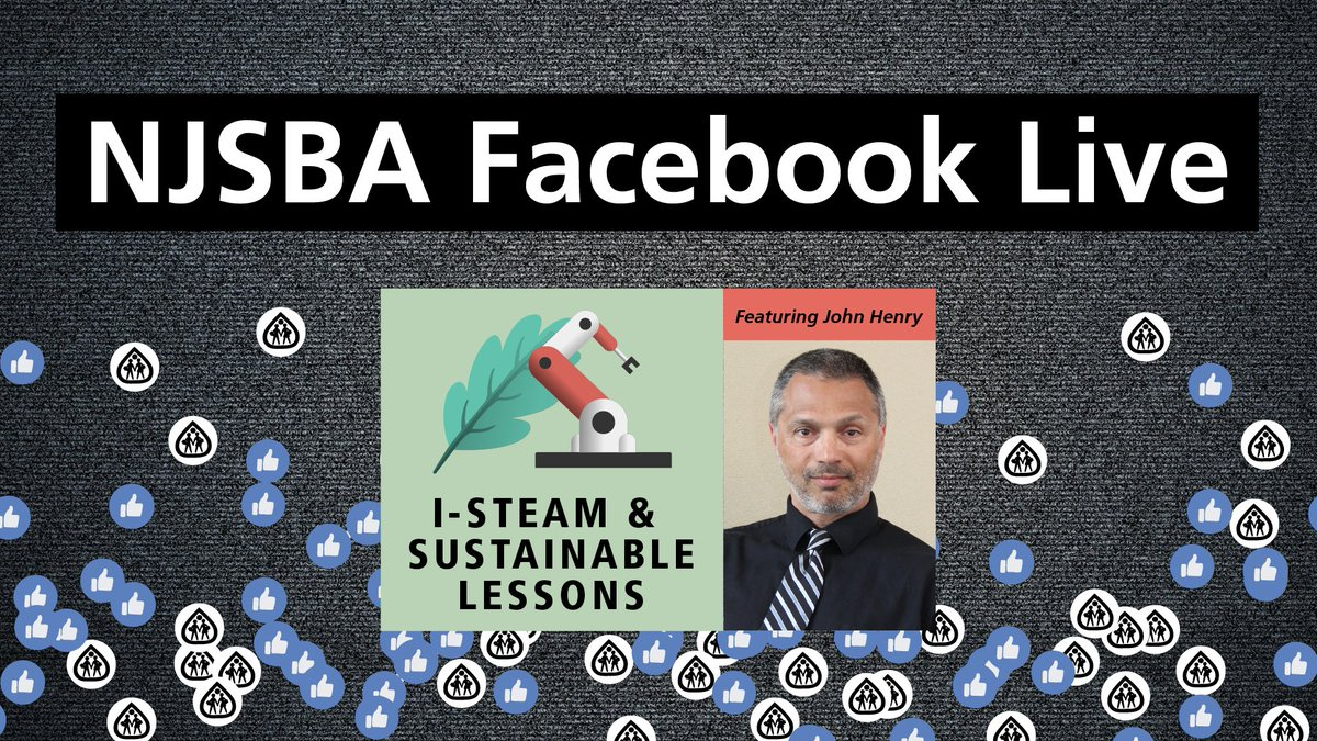 """LIVE at 10 AM! NJSBA I-STEAM and Sustainability Update Part II"""". Join John Henry for a discussion with the I-STEAM education community. Listen live on our Facebook Page!   View our live broadcast here: https://t.co/ZBVuFfXMCj https://t.co/SiYmYS8cFX"""