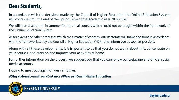 Announcement from Rectorate of Beykent University   #BeykentUniversity https://t.co/W0kINSel8O