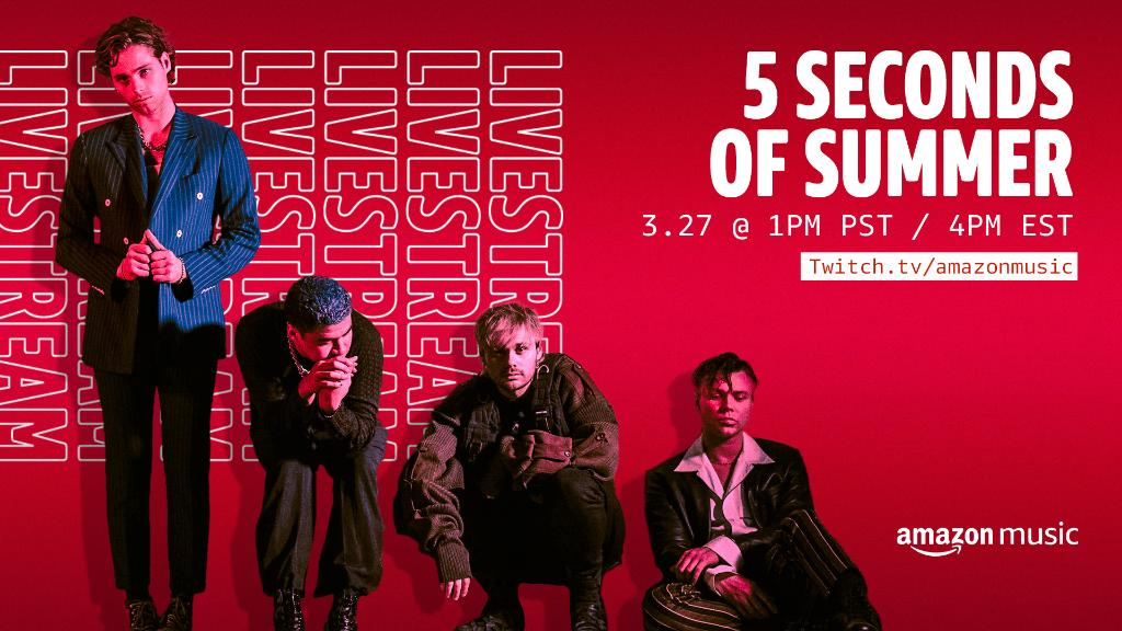 The countdown is on!   We're going LIVE with @5SOS TODAY @ 1PM PT for an unforgettable Q&A.   Tune-in to Amazon Music's Twitch channel to watch 👀: