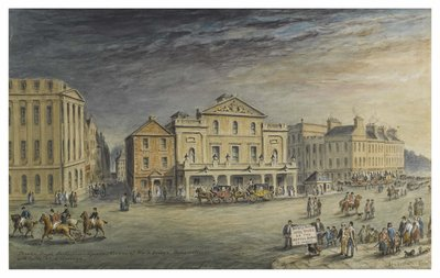 It's #WorldTheatreDay today.  'Theatre Royal, Shakespeare Square', John Le Conte, 1857. Originally located at the junction of North Bridge and Waterloo Place in Shakespeare Square, no longer extant. The theatre was demolished in 1859.   @TalesOfOneCity
