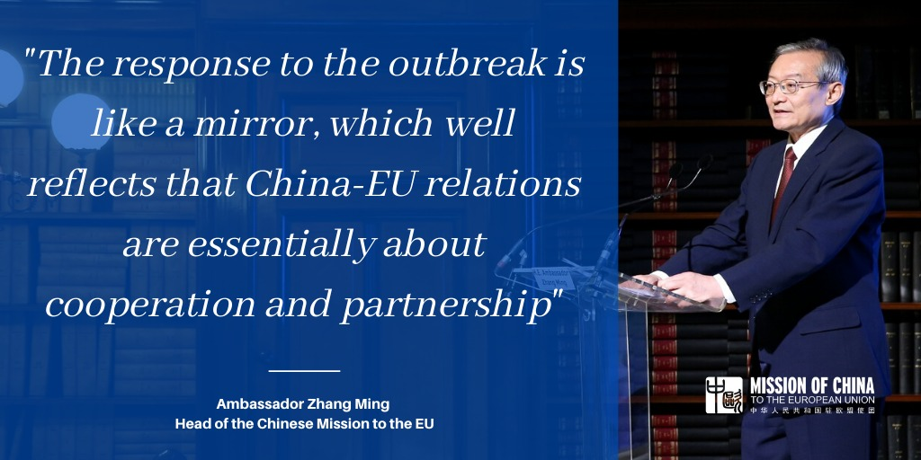 To tackle the #COVID19, #ChinaEU 🇨🇳🇪🇺 are stepping up cooperation on diagnostics, treatment, pharmaceutical development and regularly exchange information and expertise, writes Ambassador Zhang in an op-ed published in @BrusselsTimes, @EURACTIV and @euobs: