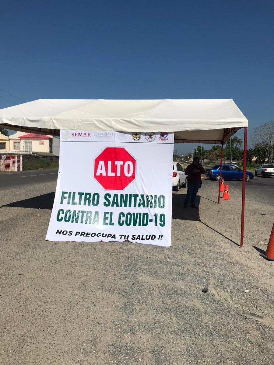 Un punto de revisión fue instalado en la carretera Comalcalco-Paraíso, a la altura de la Ría. Quintín Aráuz, con la participación de instituciones como la #PECTabasco @SSalud_Tab Seguridad Pública Municipal y @GN_MEXICO_