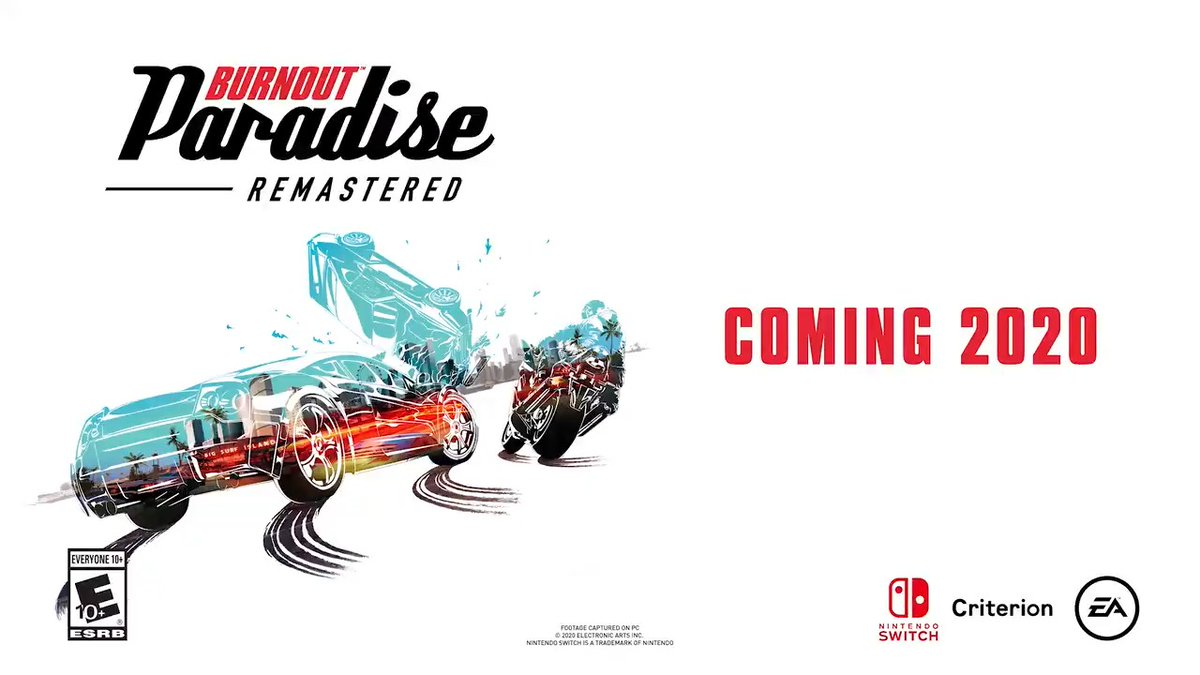 Take yourself down to Paradise City and enjoy the open world mixed with speed and slow-motion destruction when #BurnoutParadise Remastered races onto #NintendoSwitch in 2020!