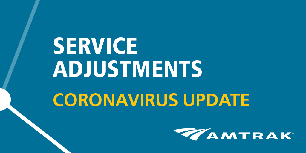 For the latest updates on: - Reservation change/cancel information (fees waived through 5/31/20) - Service reductions and schedule adjustments - Capacity reductions for social distancing onboard trains - Cashless transactions in trains and stations Visit