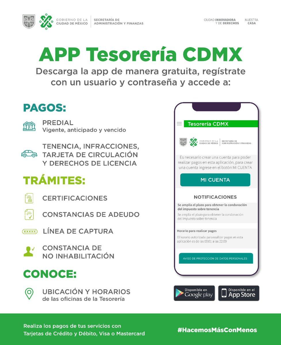 #QuédateEnCasaCDMX y realiza el pago de tus contribuciones a través de la App de la #TesoreríaCDMX. 📲🌐  También puedes realizar distintos trámites ¡Disponible para iOS y Android!